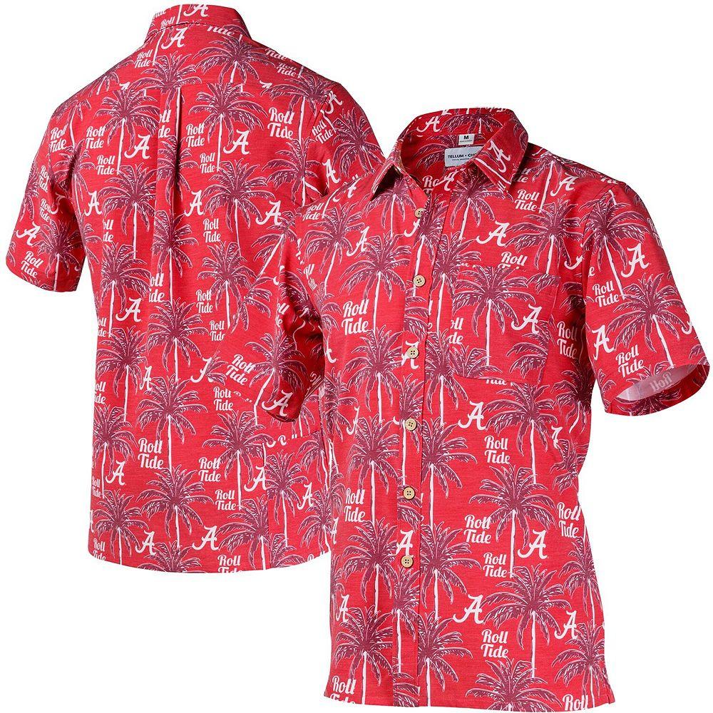 Men's Tellum and Chop Crimson Alabama Crimson Tide Logo Floral Button-Up Shirt