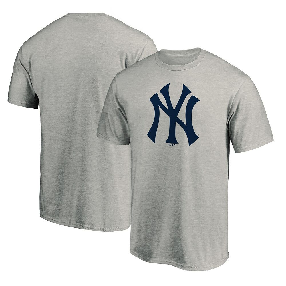 Men's Fanatics Branded Heathered Gray New York Yankees Official Logo T-Shirt
