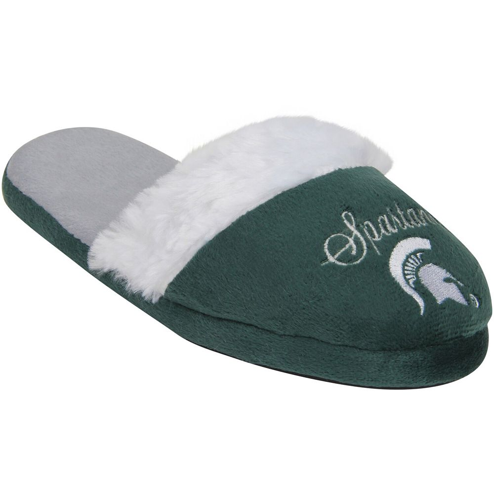 Women's Michigan State Spartans Colorblock Fur Slide Slippers