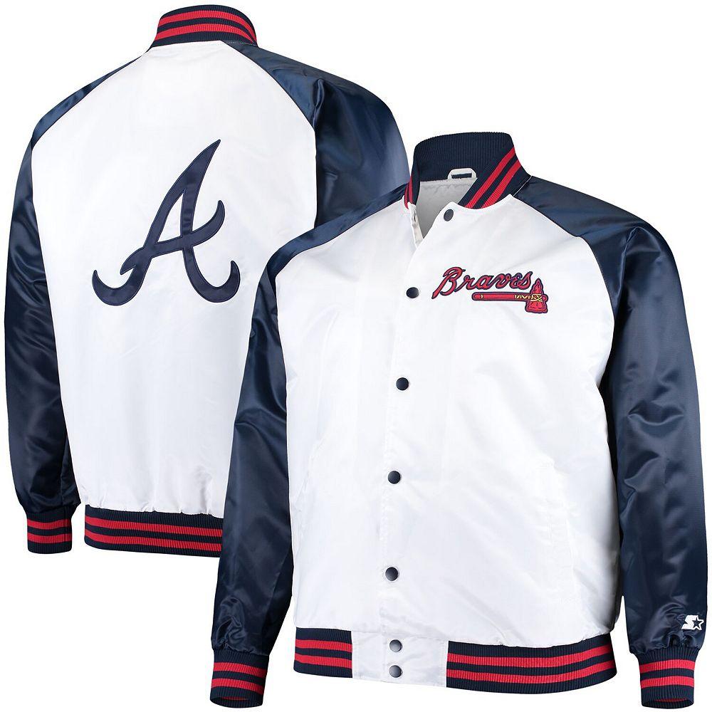 Men's Starter White/Navy Atlanta Braves Clean-Up Hitter Full-Snap Jacket