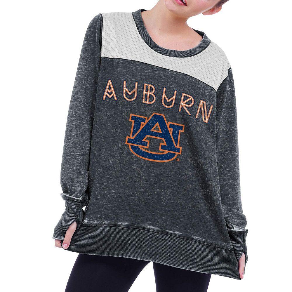 Women's chicka-d Gray Auburn Tigers Cutout Back Tunic Sweatshirt