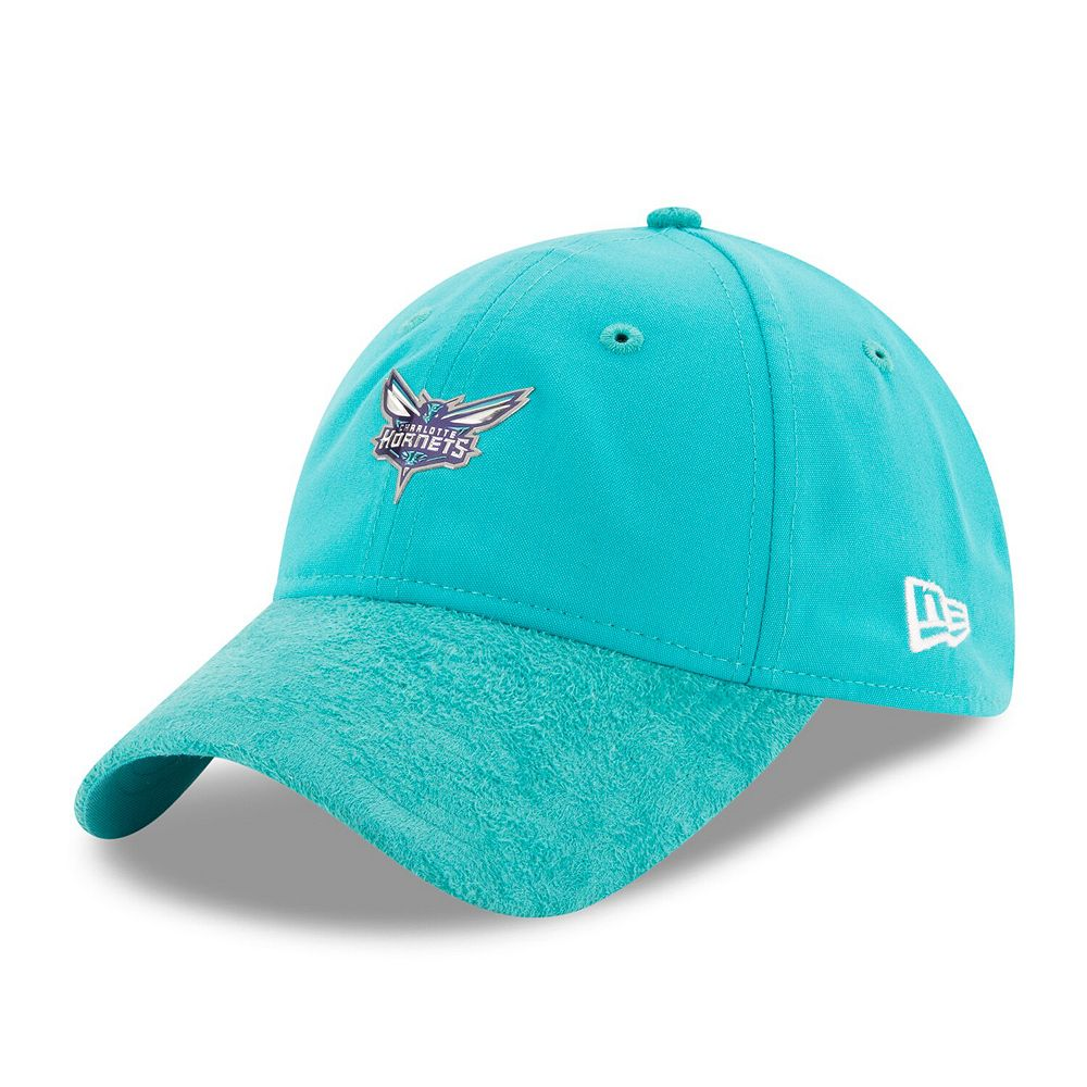 Men's New Era Teal Charlotte Hornets 2017 Official On-Court Collection 9TWENTY Adjustable Hat
