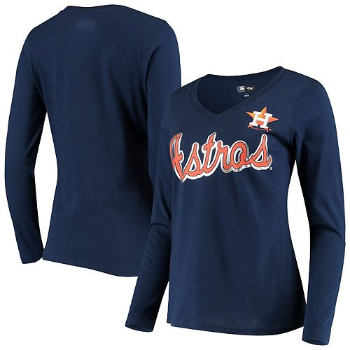 Women's G-III 4Her by Carl Banks Navy Houston Astros Perfect Game Long Sleeve V-Neck T-Shirt