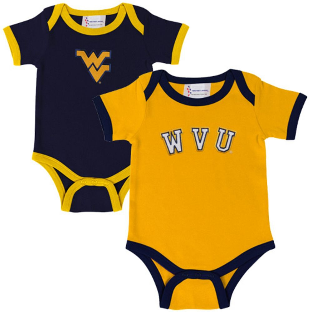 West Virginia Mountaineers Infant Two-Pack Embroidered Creeper Set - Navy Blue/Old Gold