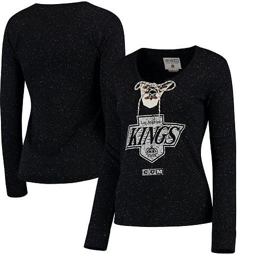 Women's CCM Black Los Angeles Kings Lace-Up Henley T-Shirt