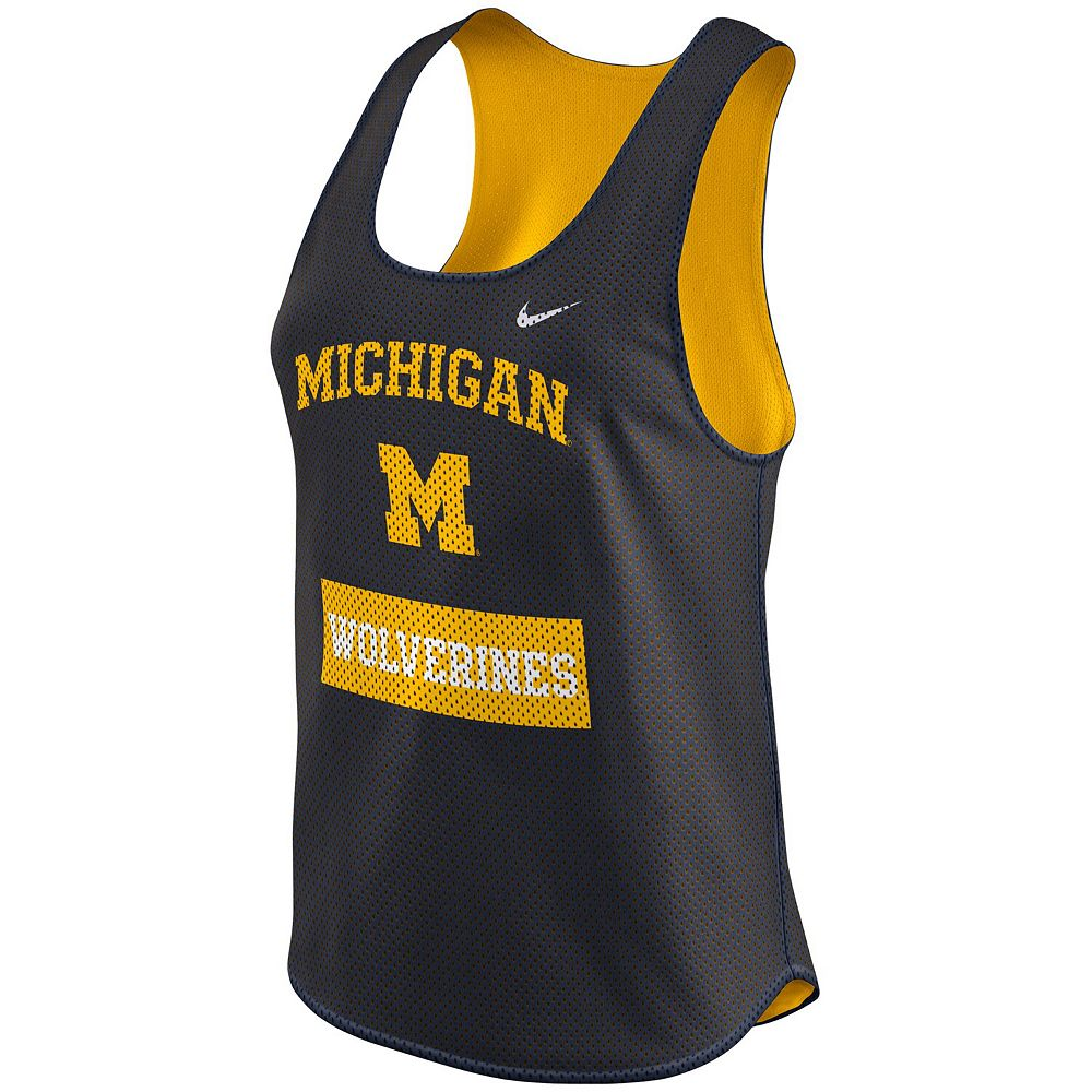 Women's Nike Navy Michigan Wolverines Gear Up Dri-FIT Mesh Tank Top