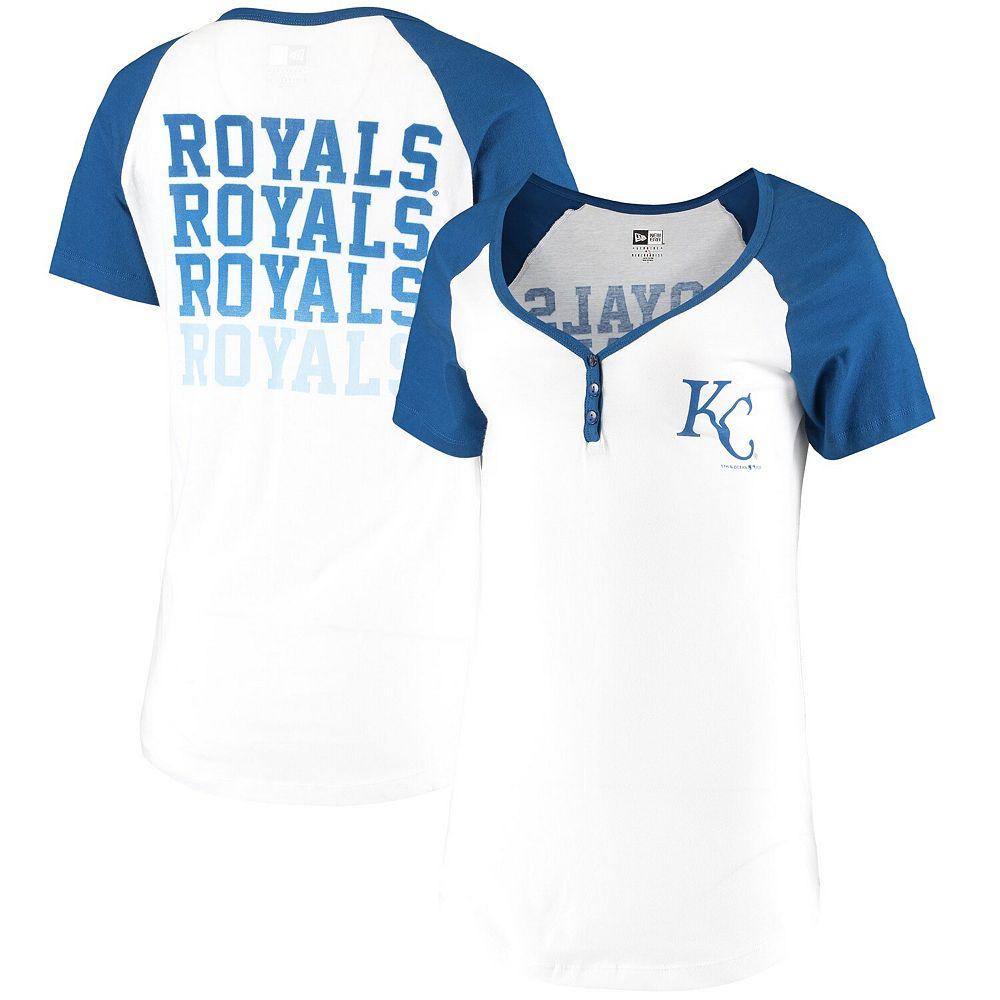 Women's New Era White Kansas City Royals Henley T-Shirt