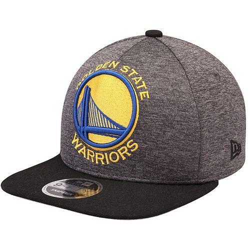 Men's New Era Heathered Graphite/Black Golden State Warriors Huge Logo 9FIFTY Adjustable Snapback Hat