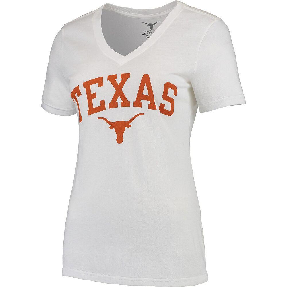 Women's White Texas Longhorns Arch V-Neck T-Shirt