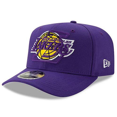 Men's New Era Purple Los Angeles Lakers Logo Pair 9FIFTY Adjustable Snapback Hat