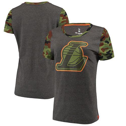 Women's Fanatics Branded Heathered Gray/Camo Los Angeles Lakers Recon Camo T-Shirt