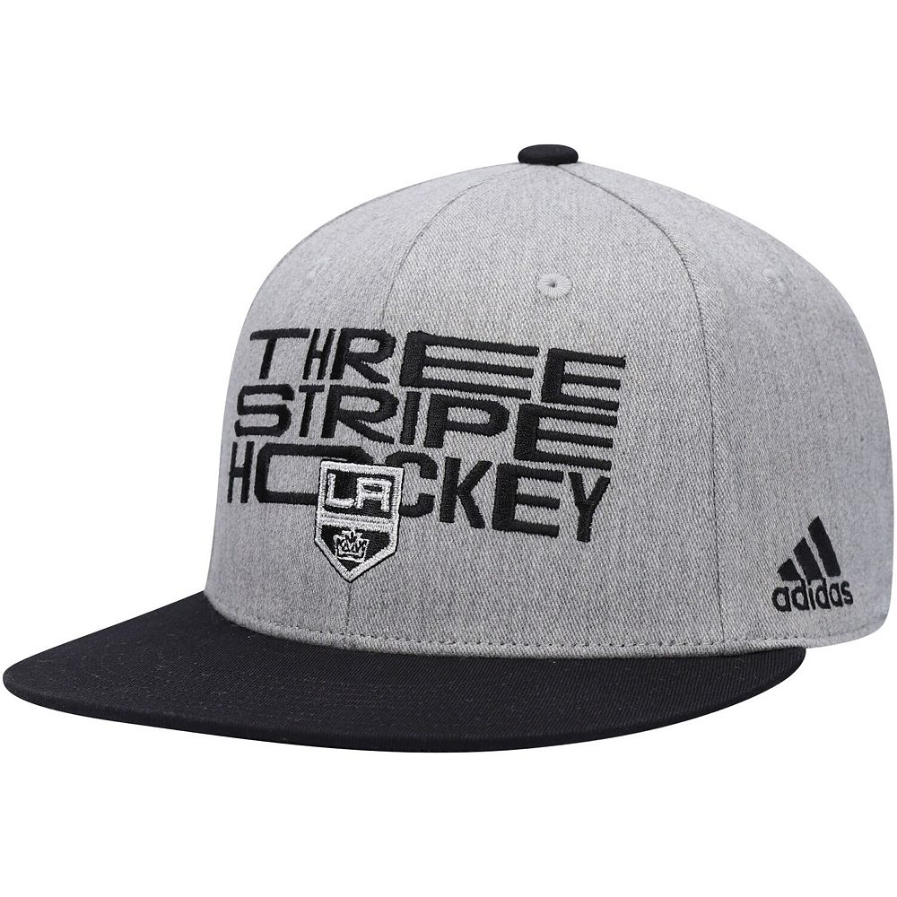 Men's adidas Gray/Black Los Angeles Kings Three Stripe Hockey Adjustable Hat