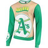 Men's Tan/Green Oakland Athletics Sublimated Crew Neck Sweater