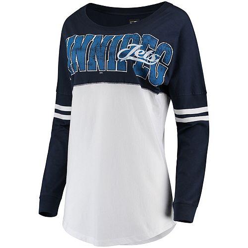 Women's 5th & Ocean by New Era White/Navy Winnipeg Jets Baby Jersey Long Sleeve Crew T-Shirt