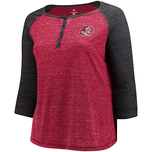 Women's Colosseum Garnet Florida State Seminoles Plus Size Team Logo 3/4-Sleeve Raglan Henley T-Shirt