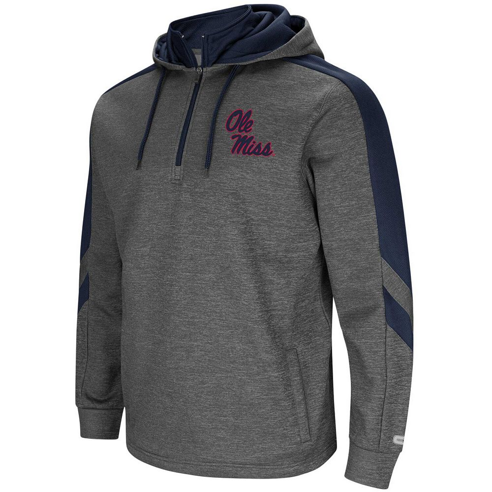 Men's Colosseum Charcoal/Navy Ole Miss Rebels Lawrence Quarter-Zip Pullover Hoodie