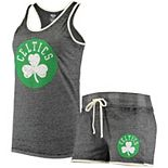 Women's Concepts Sport Heathered Charcoal Boston Celtics Loyalty Tank and Shorts Sleep Set
