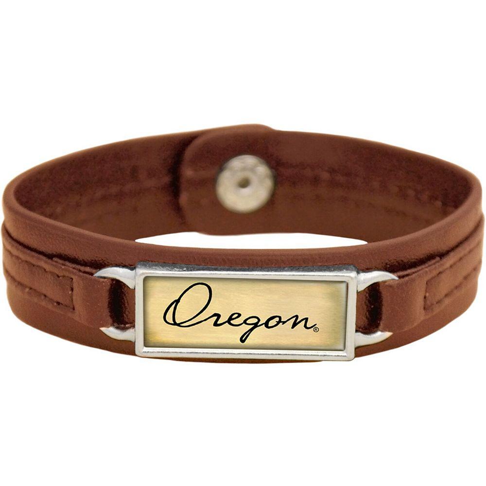 Women's Brown Oregon Ducks Sepia Leather Bracelet