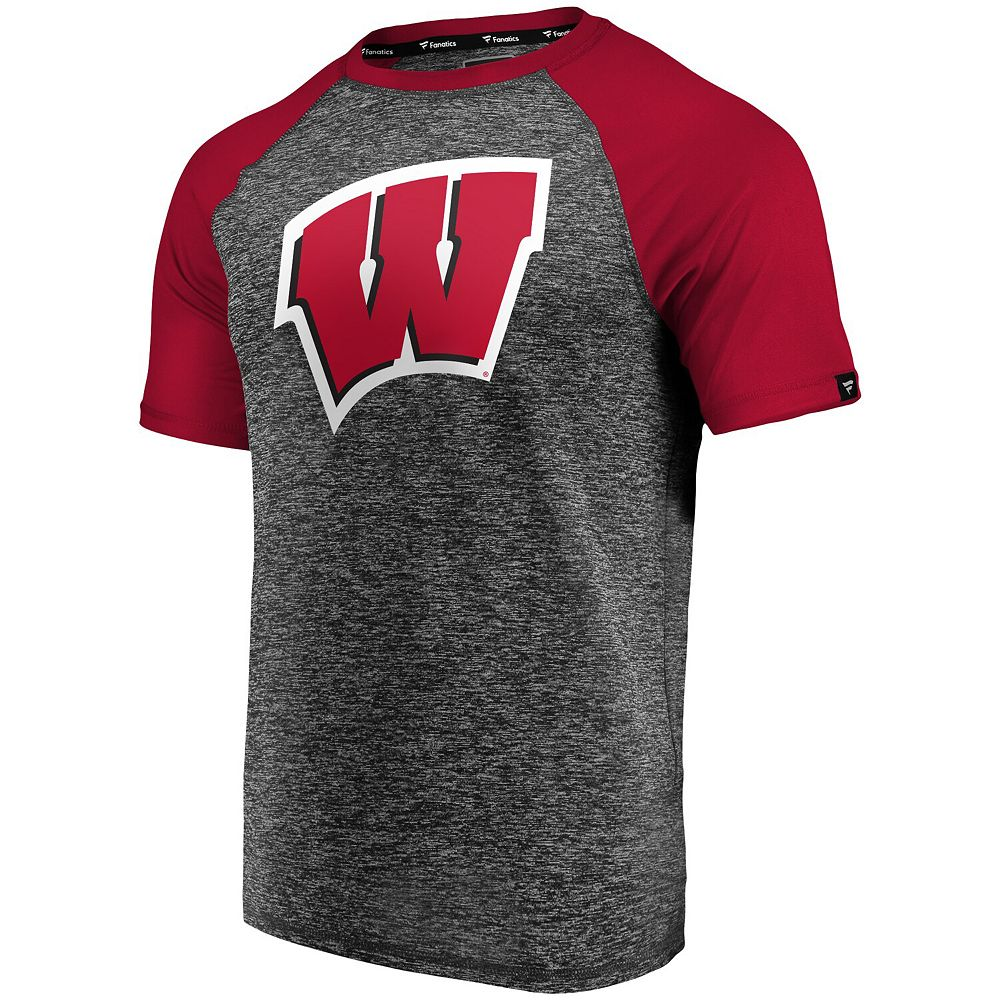 Men's Fanatics Branded Charcoal/Red Wisconsin Badgers Static Raglan T-Shirt