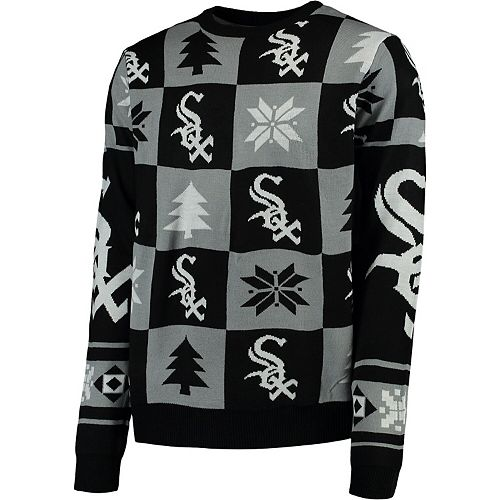 Men's Black Chicago White Sox Patches Ugly Pullover Sweater