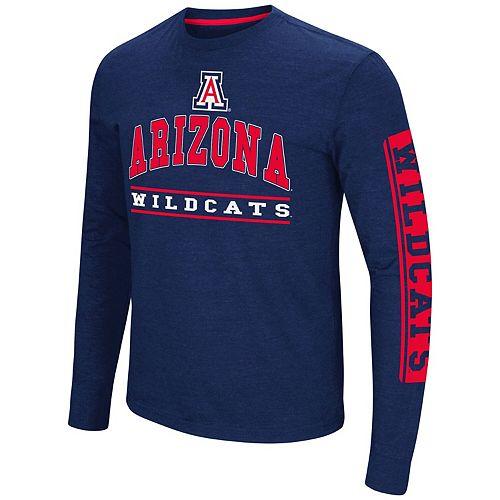 Men's Colosseum Navy Arizona Wildcats Big & Tall Sky Box Long Sleeve T-Shirt