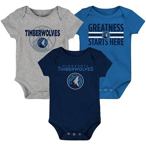 Newborn & Infant Blue/Navy/Gray Minnesota Timberwolves Three-Pack Bodysuit Set