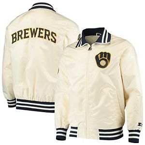 Men's Starter Cream Milwaukee Brewers The Captain II Full-Zip Jacket