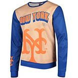 Men's Tan/Royal New York Mets Sublimated Crew Neck Sweater