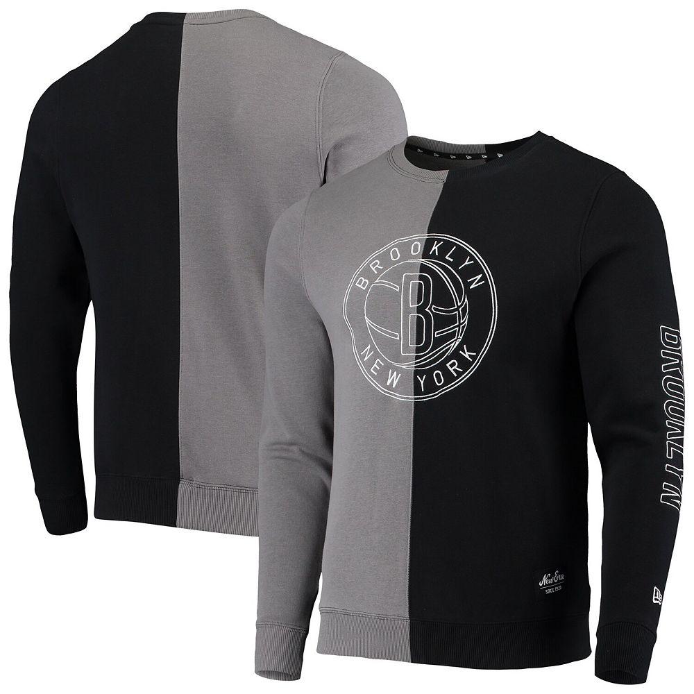 Men's New Era Gray/Black Brooklyn Nets Diagonal French Terry Color Block Pullover Sweatshirt
