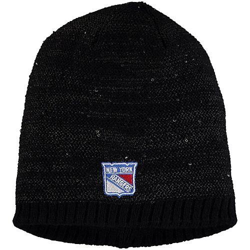 Women's adidas Black New York Rangers Sequin Knit Beanie