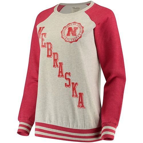 Women's Pressbox Cream/Scarlet Nebraska Cornhuskers Sundown Vintage Pullover Sweatshirt