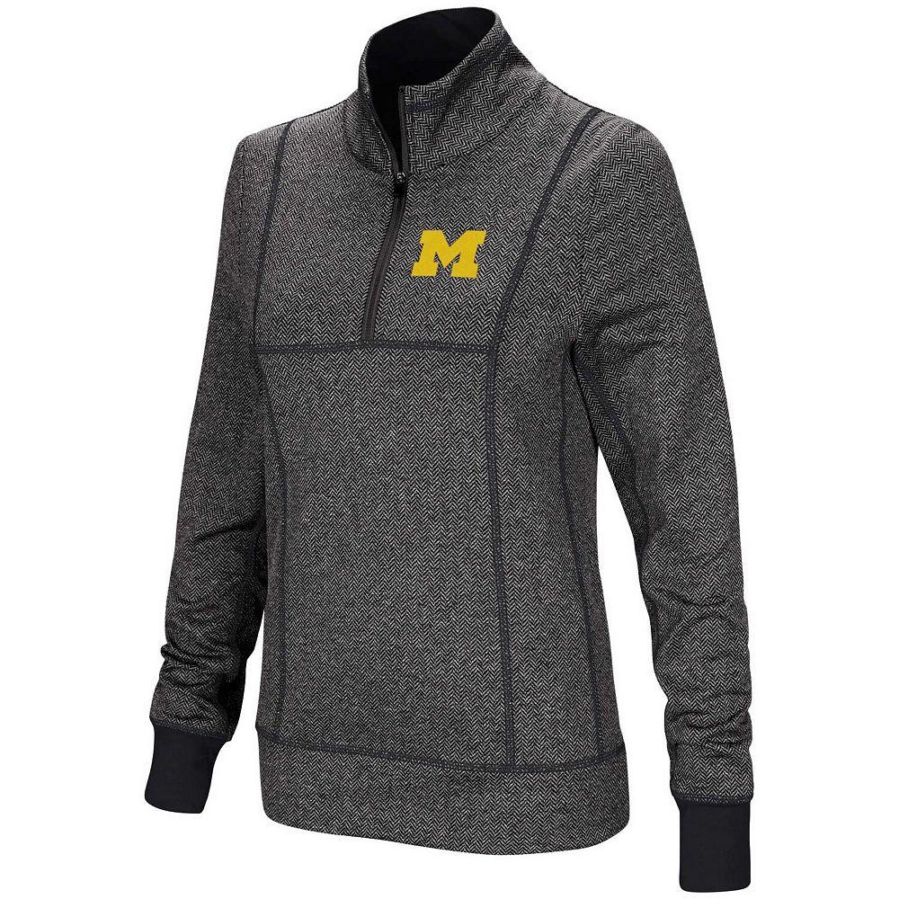 Women's Colosseum Charcoal Michigan Wolverines Herringbone Print Quarter-Zip Pullover Jacket