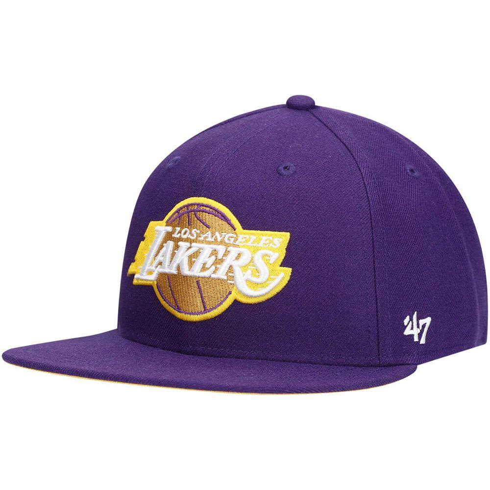 Men's '47 Purple Los Angeles Lakers Jersey Captain Adjustable Snapback Hat