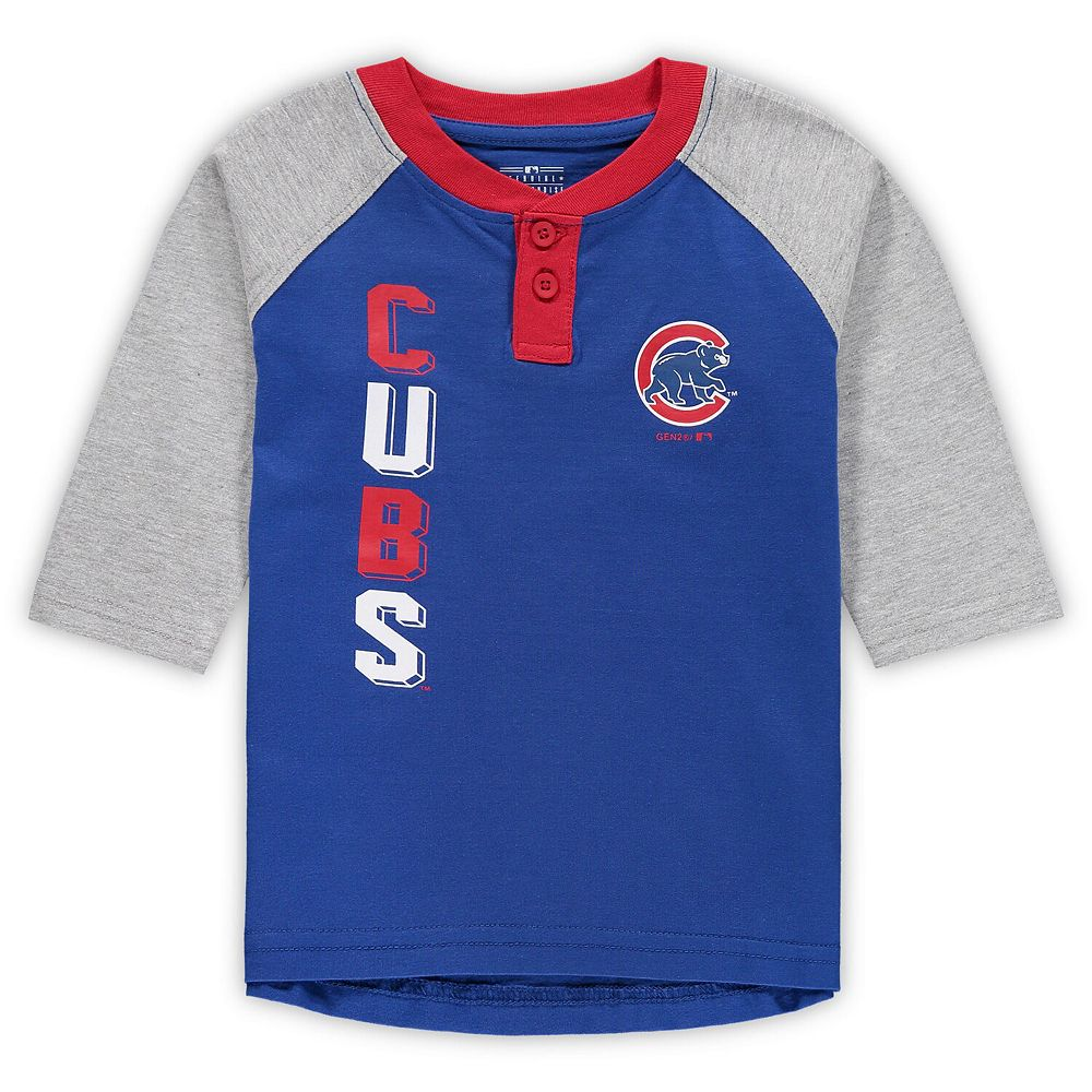 Toddler Royal/Heathered Gray Chicago Cubs Play to Win Henley 3/4-Sleeve T-Shirt