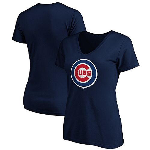Women's Fanatics Branded Navy Chicago Cubs Core Official Logo V-Neck T-Shirt