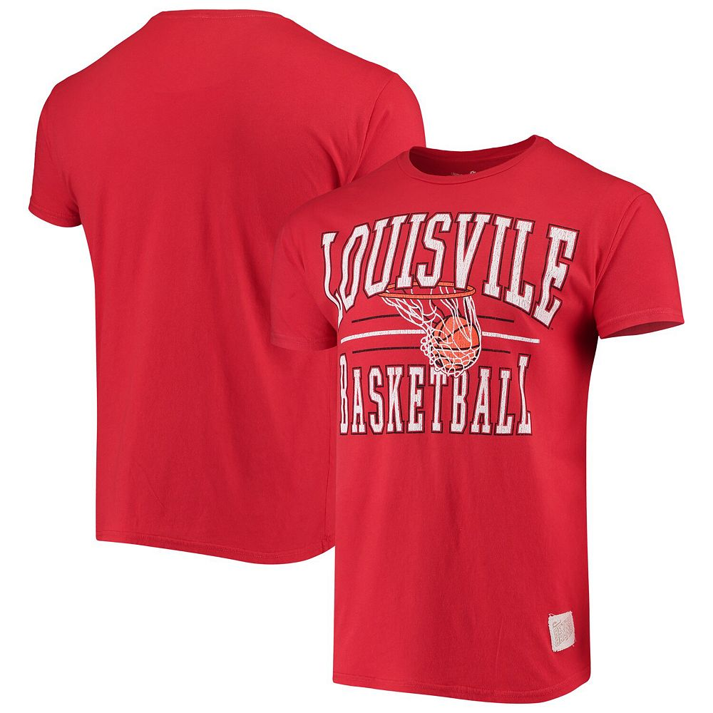 Men's Original Retro Brand Red Louisville Cardinals Basketball Hoop T-Shirt