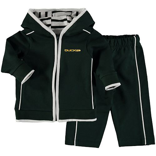 Newborn & Infant Green Oregon Ducks French Terry Pant & Jacket Sweat Set