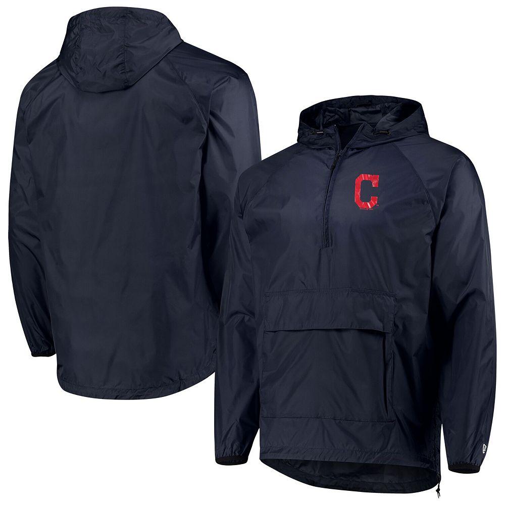 Men's New Era Navy Cleveland Indians Anorak Packable 1/4-Zip Hoodie Jacket