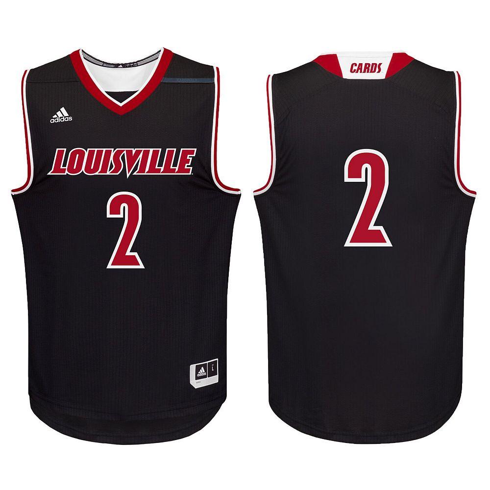 Men's adidas #2 Black Louisville Cardinals Replica Basketball Jersey