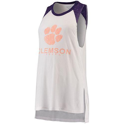 Women's Blue 84 White/Purple Clemson Tigers Confetti Muscle Tank Top
