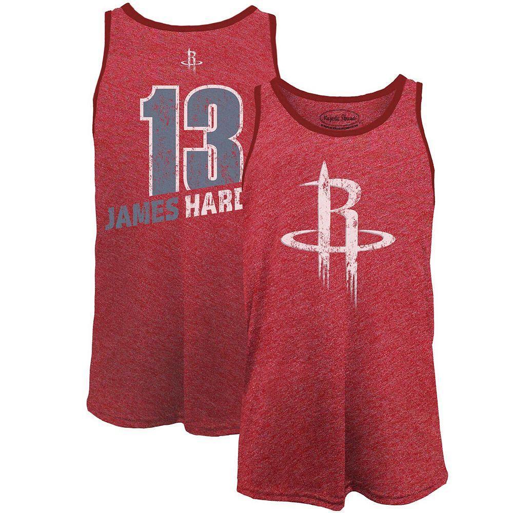 Men's Majestic Threads James Harden Red Houston Rockets Name & Number Tri-Blend Tank Top