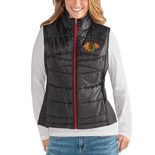 Women's G-III 4Her by Carl Banks Black Chicago Blackhawks Wing Back Full-Zip Vest