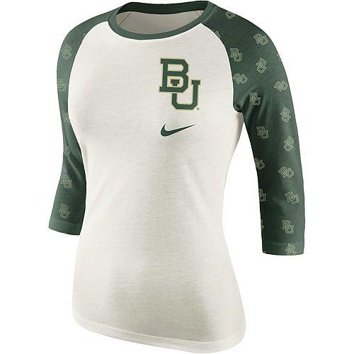 Women's Cream/Green Baylor Bears Veer Pattern Tri-Blend 3/4-Sleeve Raglan T-Shirt
