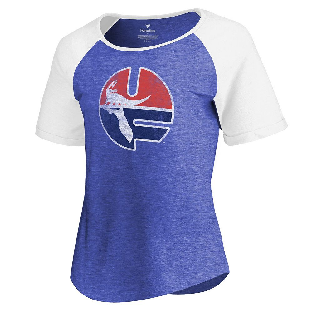 Women's Fanatics Branded Royal/White Florida Gators Vault Primary Logo Raglan Tri-Blend T-Shirt