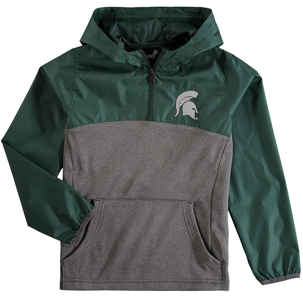 Youth Gray Michigan State Spartans Convex Quarter-Zip Hooded Jacket