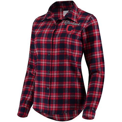 Women's Navy Cleveland Indians Flannel Button-Up Long Sleeve Shirt