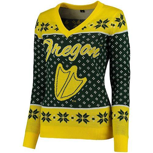 Women's Green Oregon Ducks Big Logo Ugly Christmas V-Neck Sweater