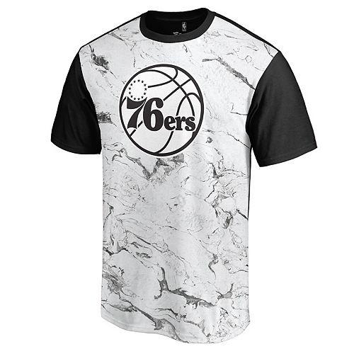 Men's White/Black Philadelphia 76ers Marble Sublimated T-Shirt