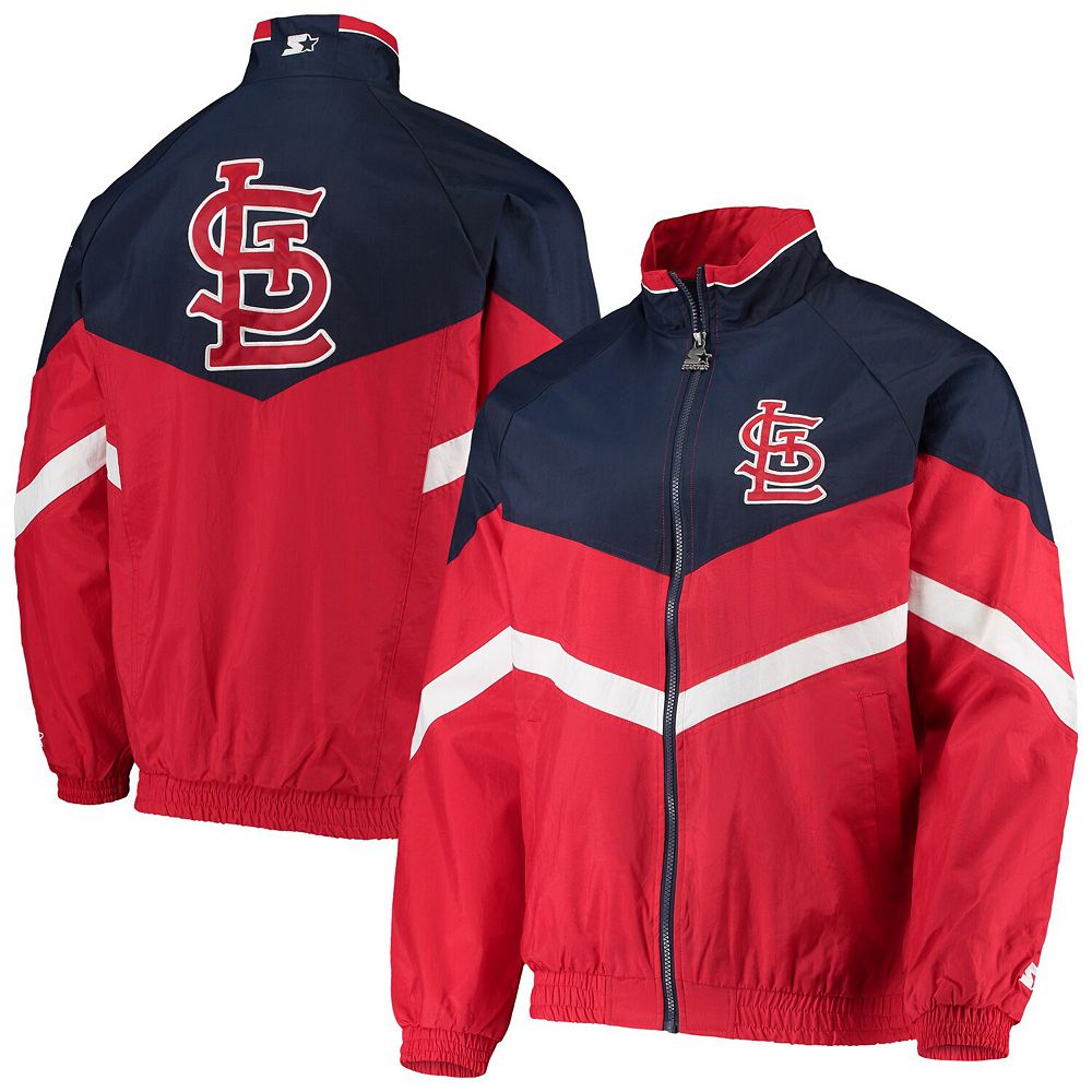 Men's Starter Red/Navy St. Louis Cardinals The Bench Coach Full-Zip Jacket