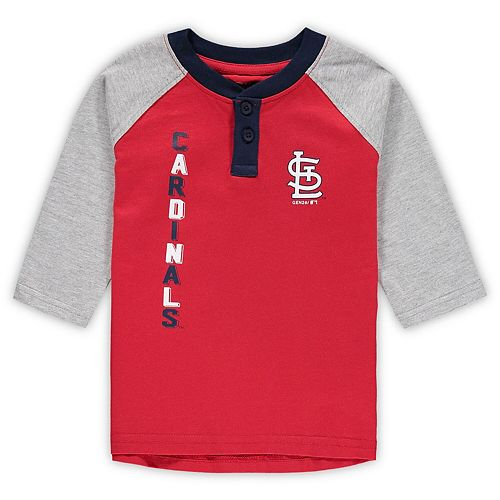 Toddler Red/Heathered Gray St. Louis Cardinals Play to Win Henley 3/4-Sleeve T-Shirt